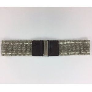 Hollister Girls Clear Beaded Belt Leather Silver